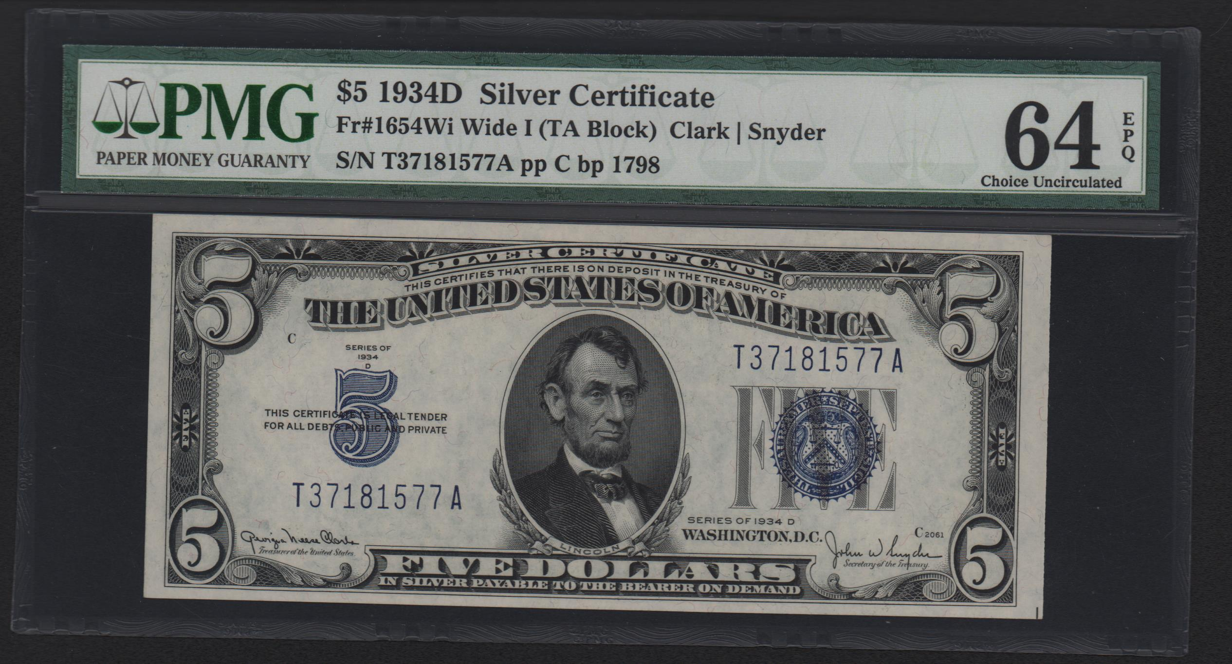 Small Size Silver Certificates 5 Silver Certificates 1934